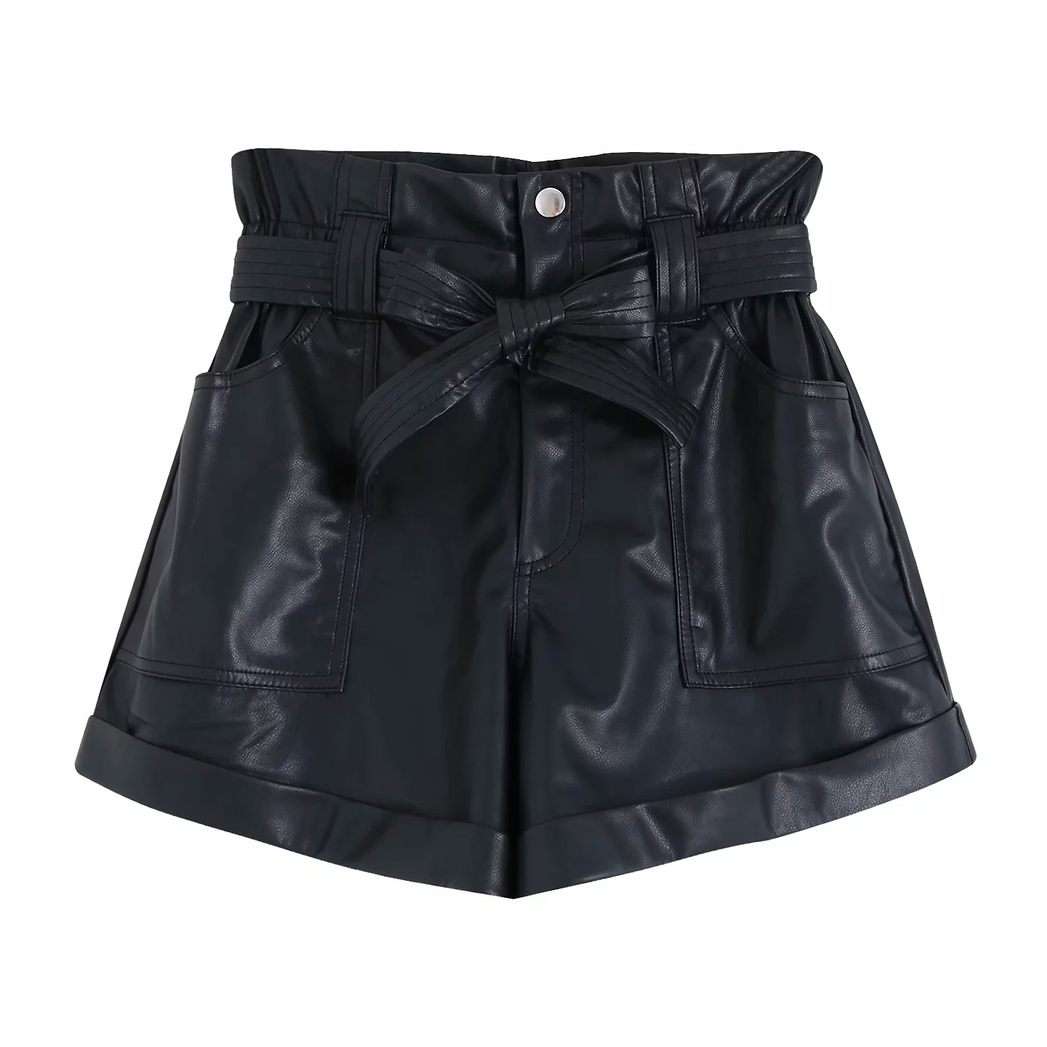 Fashion Womens PU Leather Shorts High Waist Loose Harem Shorts Zora Chic Drawstring Faux Leather Fall Za Shorts Streetwear 2019