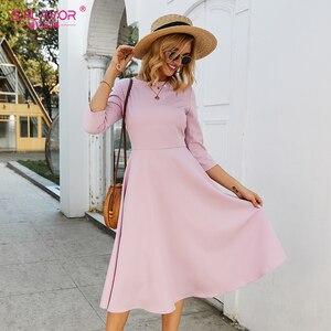 Image 3 - S.FLAVOR Для женщин светло фиолетовый платье трапециевидной формы платье элегантное платье с рукавом три четверти Повседневное платье без рукавов для женщин сезон: весна–лето вечерние платья