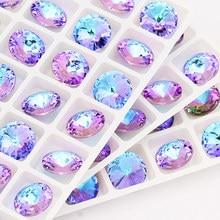 Rosa azul misturada redonda cristal k9 strass de vidro apliques pedras extravagantes para artesanato cola vestuário decoração natal