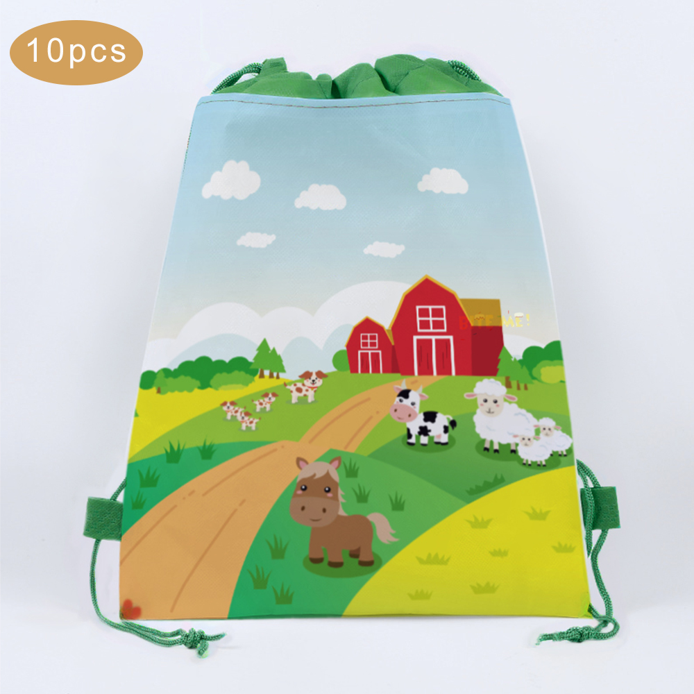 Non-woven Farm Animals Party Gifts Bags Baby Shower Candy Bags Kids Gifts Packing Backpack Boys Girls Birthday Party Decorations