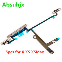 Absuhjx 5pcs נפח לחצן Flex כבל עבור iPhone X XS מקס XSM 11 פרו מקסימום מתג בקרת Flex עם מתכת סוגר חלקי