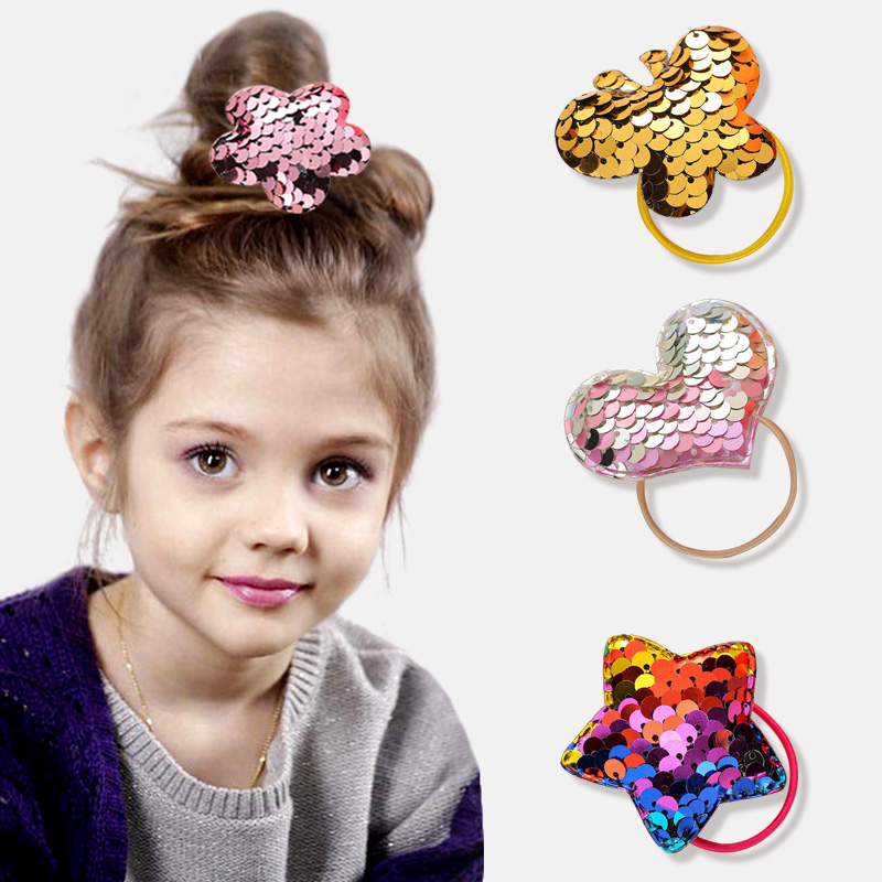Fashion Girl Colorful Sequin Hair Band Can Flipped Color Fish Scale Elastic Hair Bands Cute Rabbit Bow Headband Hair Rope