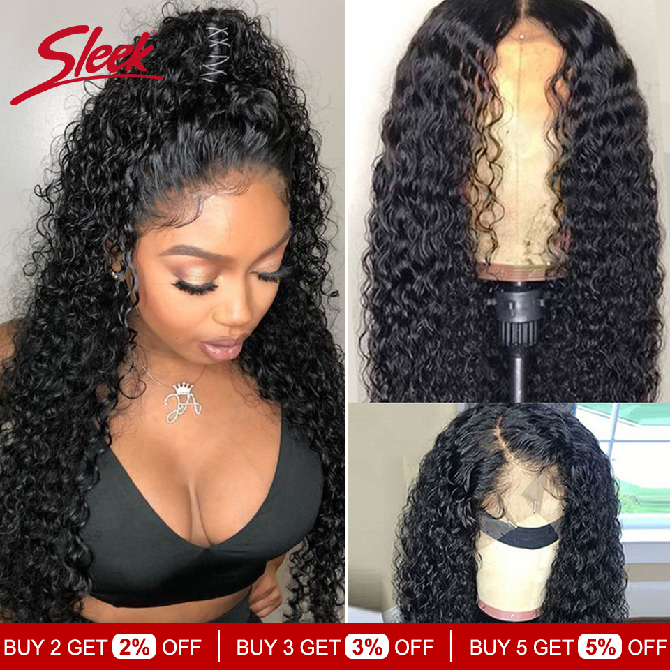 Sleek Brazilian Remy 13x4 Lace Front Human Hair Wigs 8- 28 30 Inches Kinky Curly Human Hair Wig Pre Plucked With Baby Hair