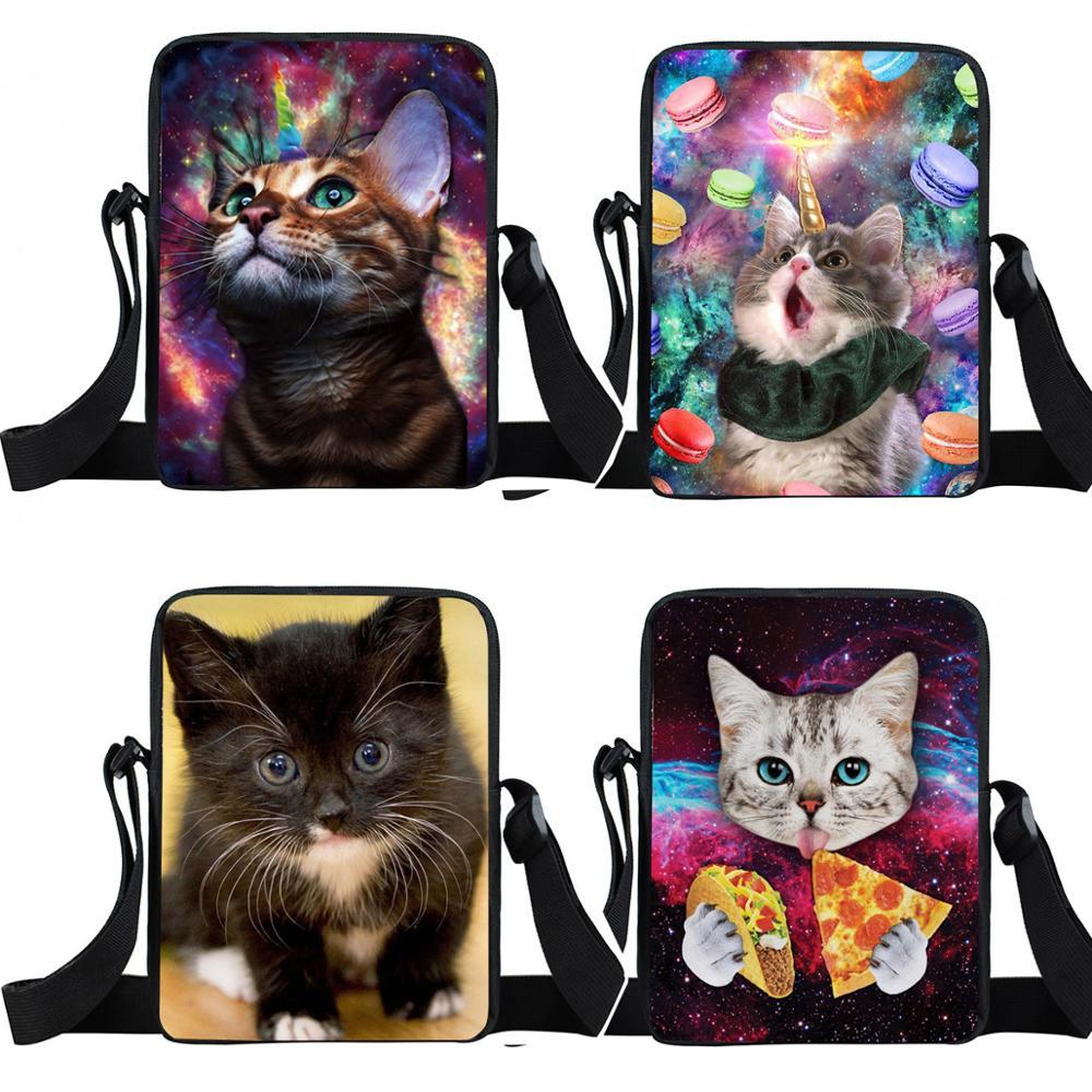 Cute Unicorn Cat Small Crossbody Bags Girls Boys Shoulder Bag Kids School Bags Children Bookbag Mini Messenger Bag