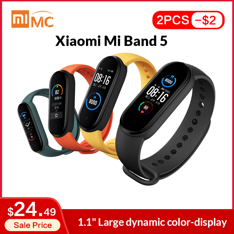 In Stock Xiaomi Mi Band 5 Smart Bracelet 1 1 AMOLED Colorful Screen Heart Rate Fitness