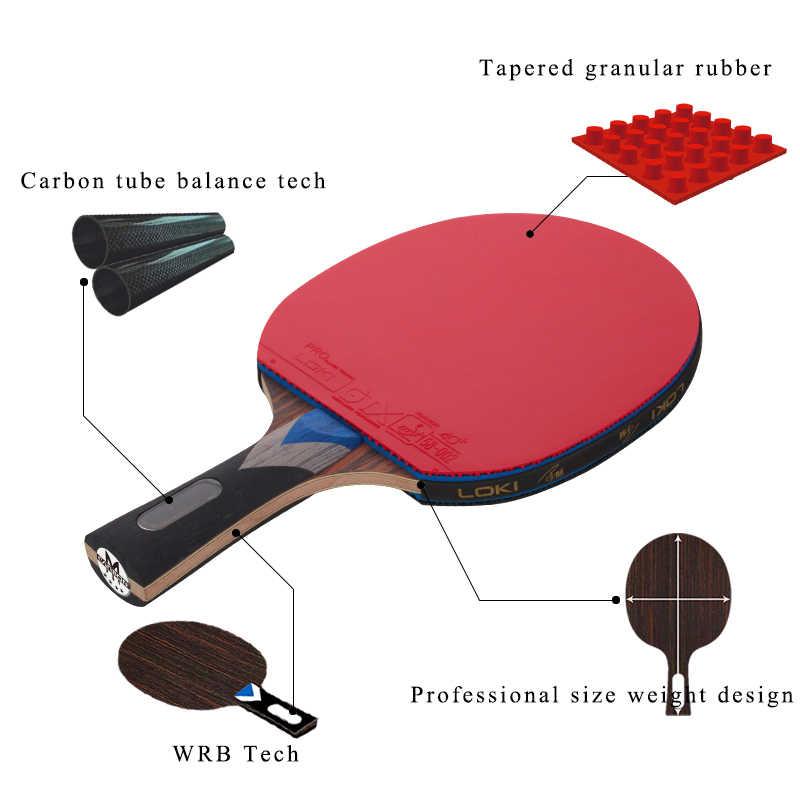 Raqueta de tenis de mesa profesional LOKI 7 estrellas, raqueta de tenis de tubo de carbono, pala de Ping-Pong de competición, pala para ataque rápido y arco