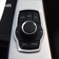 Diamant Auto innen Multimedia Taste dekorative rahmen kreis Für BMW 3/4/5 serie x1x3 x4 x5 x6 auto Styling Aufkleber-in Kfz Innenraum Aufkleber aus Kraftfahrzeuge und Motorräder bei