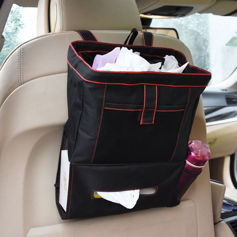 Portable Car Dustbin Garbage Bag Dust Seat Back Storage Rubbish Bin Box Case Sundries Holder Organizer Pocket Bags Trash Can