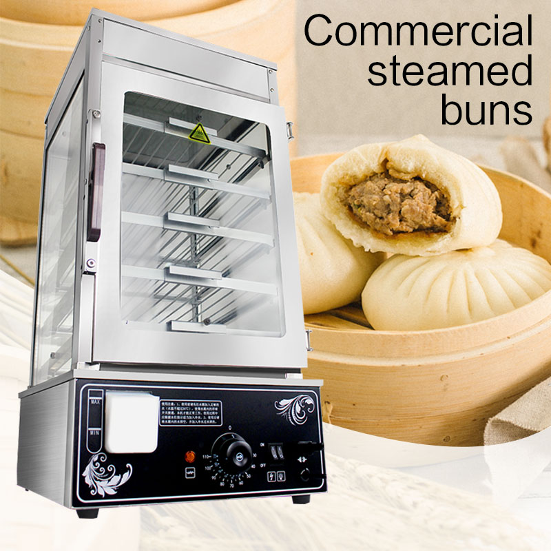 Commercial Steamed Bun Machine Desktop Large Capacity Steaming Cabinet Glass Electric Steamer Steamed Bread Bun Heating Cabinet