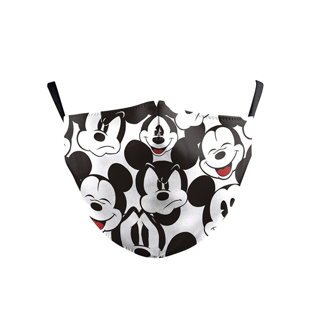 Cartoon Face Mask Cartoon Mouse Print Fabric Mask Kid Washable Mouth Face Cover Reusable PM2.5 Filter Dust Protective