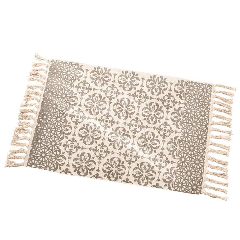 Fashion-60 X 90cm + 20 Fringed Home Decoration Cotton Linen Hand-Woven Carpet Geometric Floor Mat Bedroom Living Room Carpet Wit