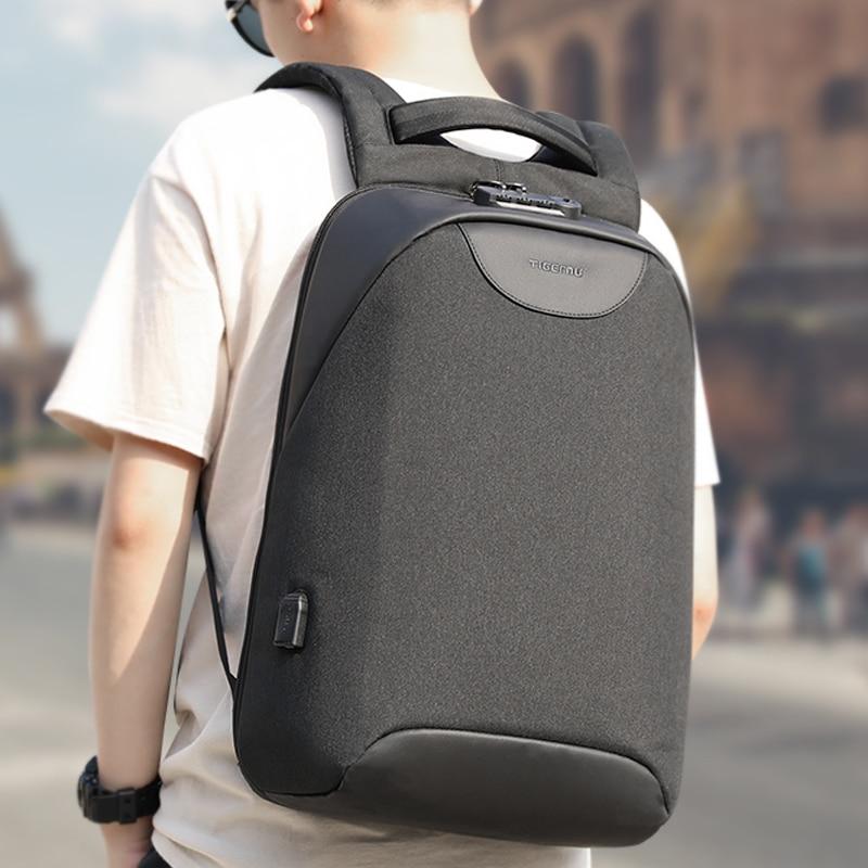 Tigernu Anti Theft Male Laptop Backpack USB Splashproof School Bags For Teenager Men Backpacks NO Key TSA Lock School Mochila