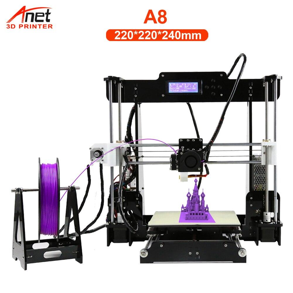 Impresora 3D Anet A8 A6 de alta precisión Impresora 3D pantalla LCD de aluminio de alta calidad Impresora extrusora DIY Kit Impresora 3D