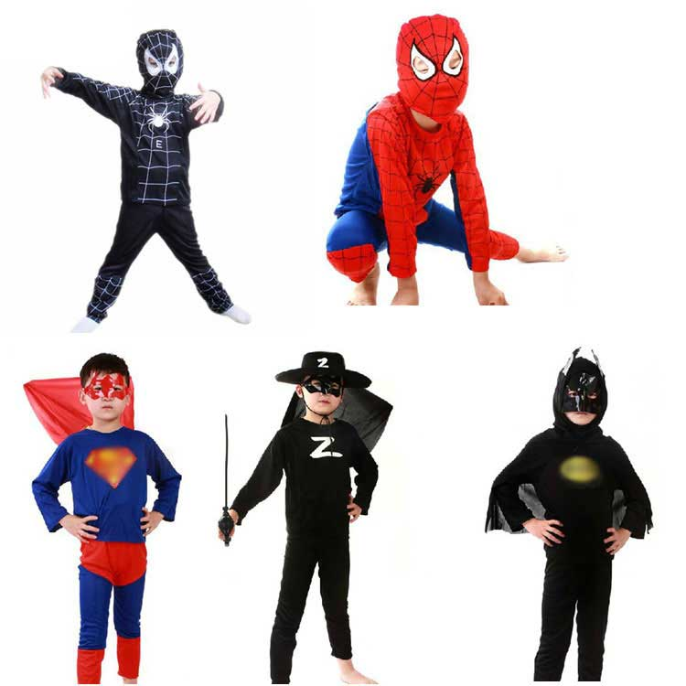 Black Red Spider Bat Superman Zorro Carnival Halloween Costumes For Kids Man Superhero Capes Cosplay For Boys New Year Christmas