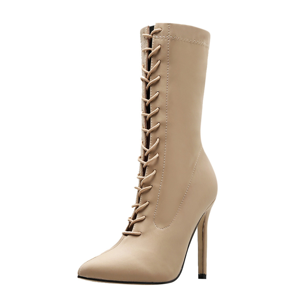 Jaycosin women winter shoes Woman Pointed Cross Strap Stiletto Ankle Booties Lace-Up high heels boots women botas mujer 927 1