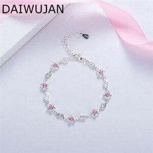 Женский очаровательный браслет DAIWUJAN, браслет из стерлингового серебра 925 пробы с розовым цирконием и цветком сакуры, ювелирные изделия для ...