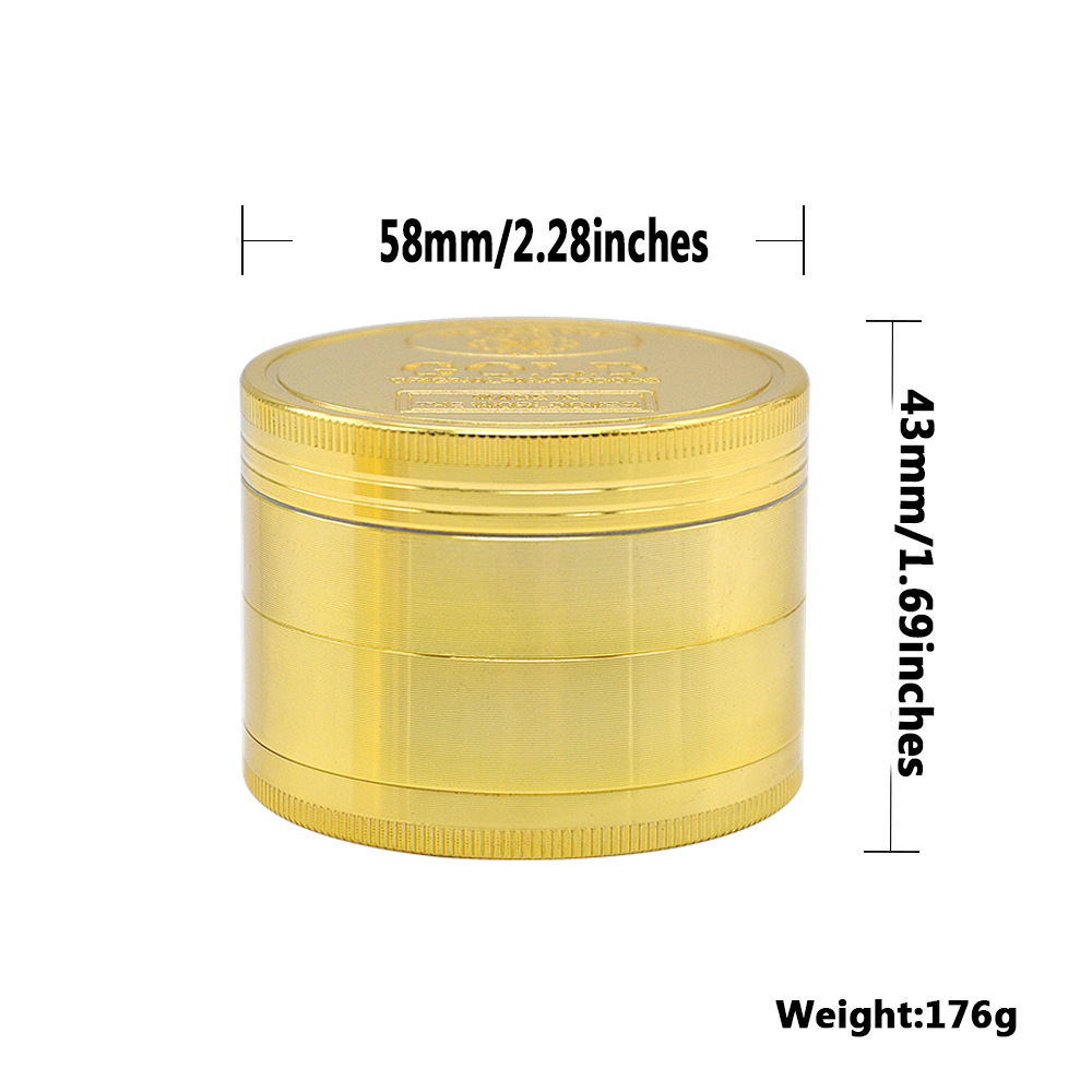 2 Size Available 4 Layers Dia.36mm/43mm Gold Zinc Alloy Metal Herb Grinder spice/tobacco Crusher Tobacco Spice Hand Muller 1