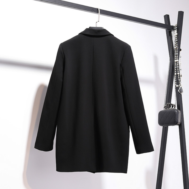 Temperament long women's blazer 2019 new autumn double-breasted long-sleeved loose black jacket suit female Office jacket