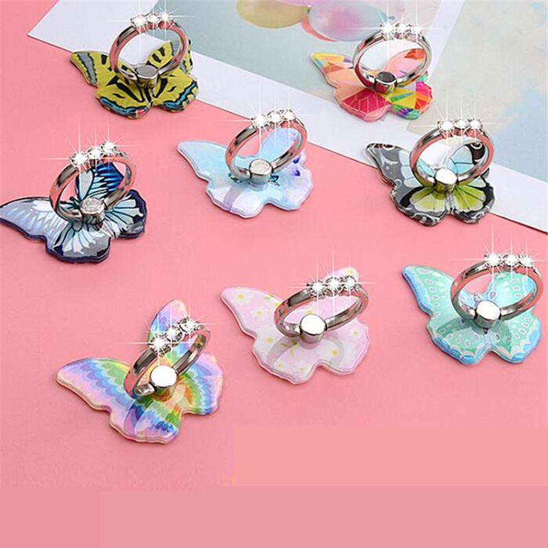 Insect Colorful Butterfly Metal Finger Ring Smartphone Stand Holder Mobile Phone Holder Stand For IPhone X Xiaomi Huawei