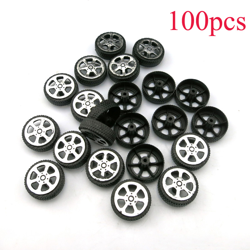 100PCS 1.9*6.7*20mm Toy Car Wheels 2mm Axles Plastic Tires Miniature Tyres Micro Wheel Spare Parts For DIY Handmade Model