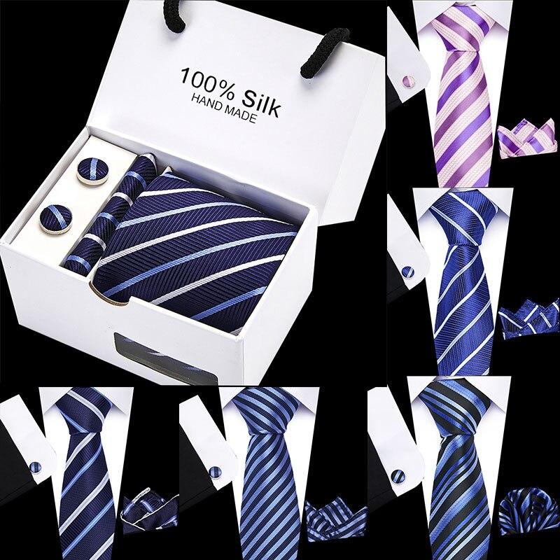 Wedding 8 Cm 100% Silk Blue Stripe Handkerchief Cuffink Necktie Set Formal Dress Accessories Mens Classic Tie Gift Box Packing