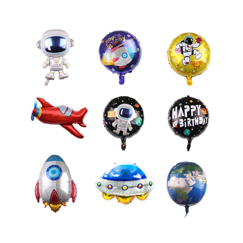 Space Series Large Balloon Aluminum Foil Vintage Airplane Earth Shape Balloon for Birthday Party Home Decoration Backdrop image
