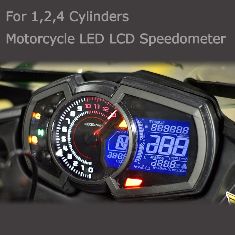 Motorcycle Odometer Speed Fuel Gauge 13000RPM DIY Universal 1,2,4 Cylinder LCD Motorcycle Instrument Speedometer 199km/h image
