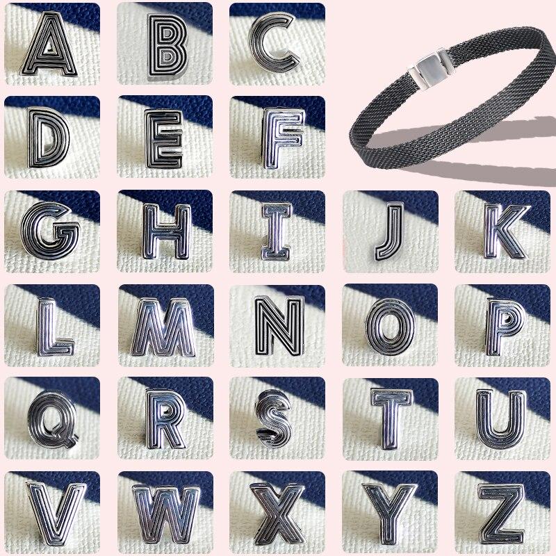 FEOLEO 26 Letter Alphabet Charms Clip Fit For Original 925 Pandora Reflexions Bracelet Female Name Custom DIY Jewelry Gifts
