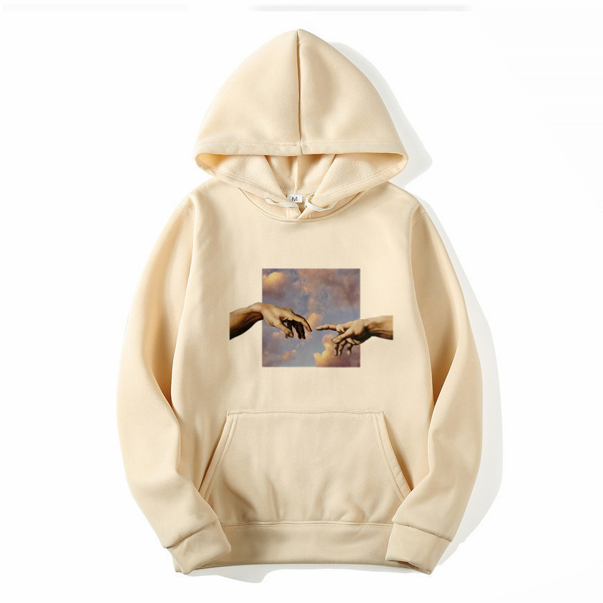 Men Hoodies Lover's Couple Finger Touch Sweatshirts Fleece Pullover Coat Loose Unisex Casual Hipster Match Eye-catching Tops
