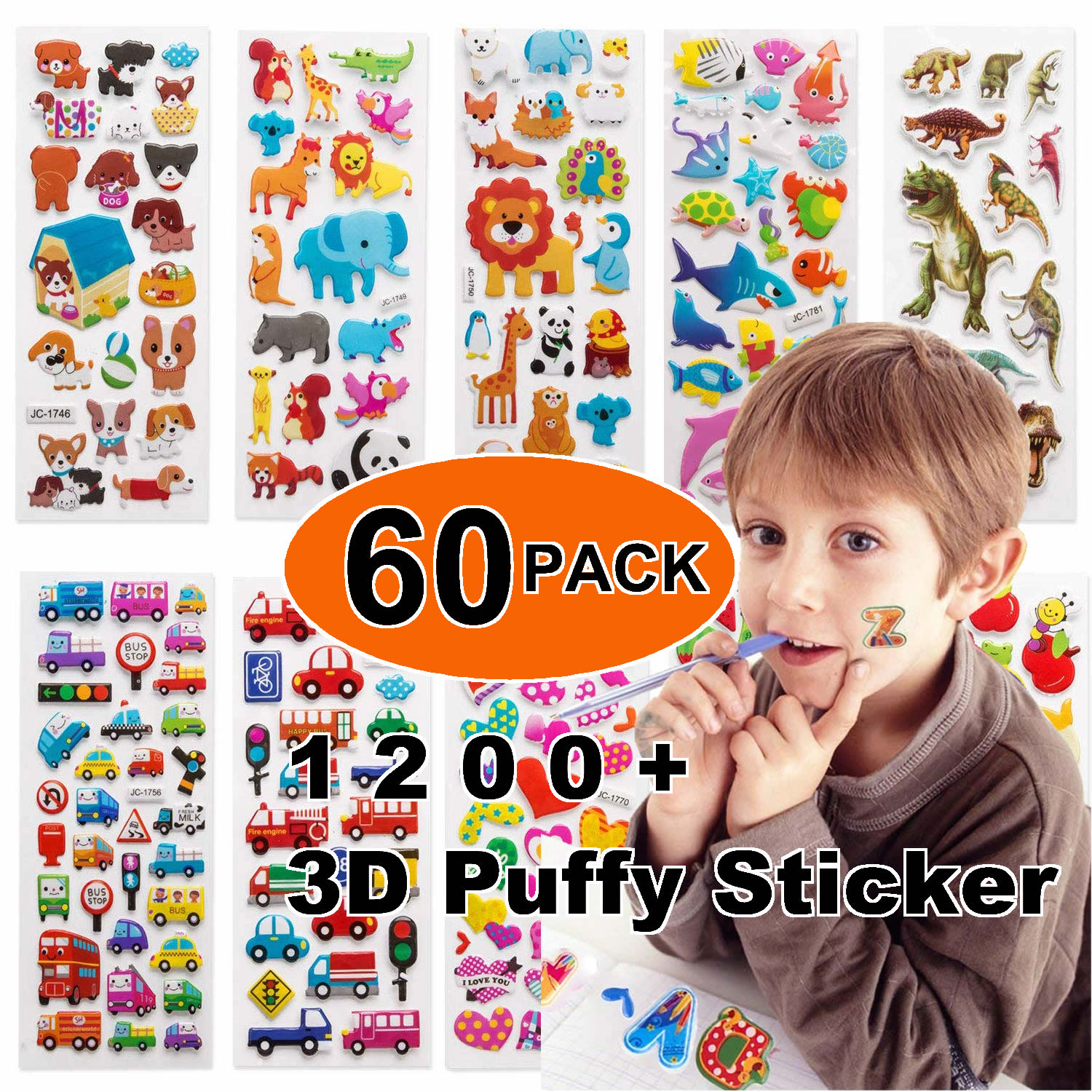 60pcs Different 3D Puffy Bulk Cartoon Animals Kids Stickers Waterproof PVC Scrapbooking Girl Boy Cartoon DIY Reward Gift Sticker(China)