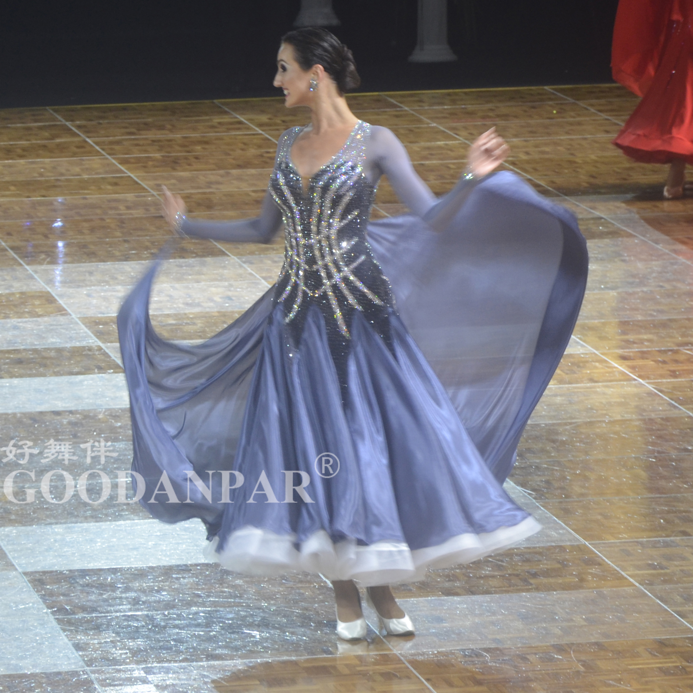 GOODANPAR Ballroom Dance Dresses Ladies Women Girls Fine Stones Long Sleeve Stage Dance Wear Waltz Flamenco Ballroom Dress Gray