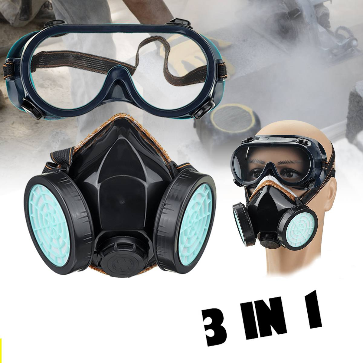 Gas Mask Half Face Painting Spraying Respirator Safety Chemical Anti-Dust Work Filter Dust Mask Goggles For Painting Spray