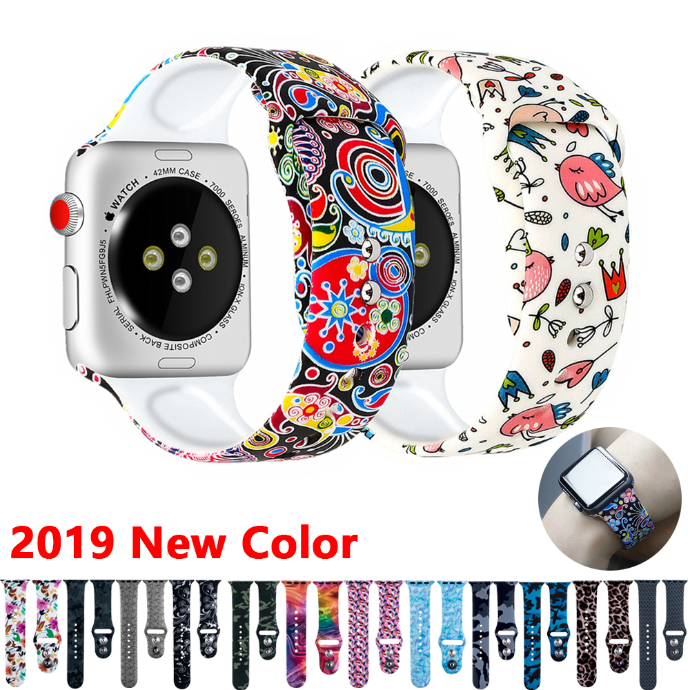Strap For Apple Watch Band Apple Watch 4 3 5 44mm 40mm Correa Iwatch Band 42mm 38mm Sport Printed Silicone Watch Reloj Fitting