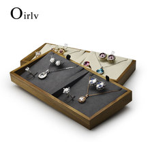 New Solid Wood Jewelry Display Tray with Microfiber Pendant Ring Necklace Earring Stand Holder for Showcase Jewelry Organizer