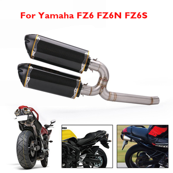 Motorcycle Exhaust System Full Middle Mid Link Tube Connect Pipe Muffler Tail Tip Silencer for Yamaha FZ6 FZ6N FZ6S
