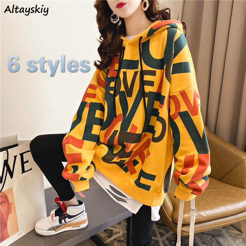 Hoodies Women Printed Oversize Plus Velvet Thick Harajuku Streetwear Womens Sweatshirt All-match Daily Casual Fashion BF Kpop