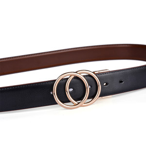 Image 5 - Beltox Women Reversible Leather Belt 2 in 1 Rotated 2 Rings Gold Buckle 3.4cm Wide