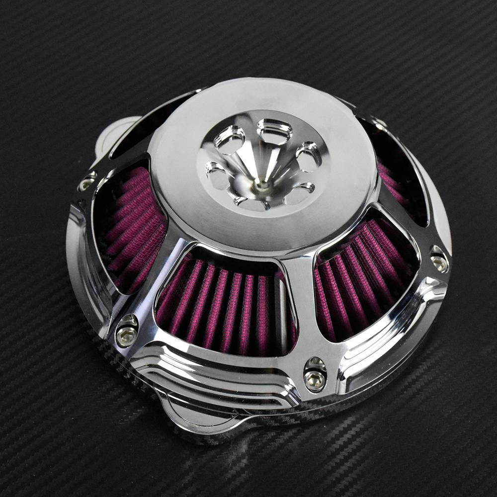 Image 4 - Motorcycle Chrome Air Cleaner Filter Intake Filter CNC For Harley Sportster XL883 48 Touring Dyna Super Glide Street Bob SoftailAir Filters & Systems   -
