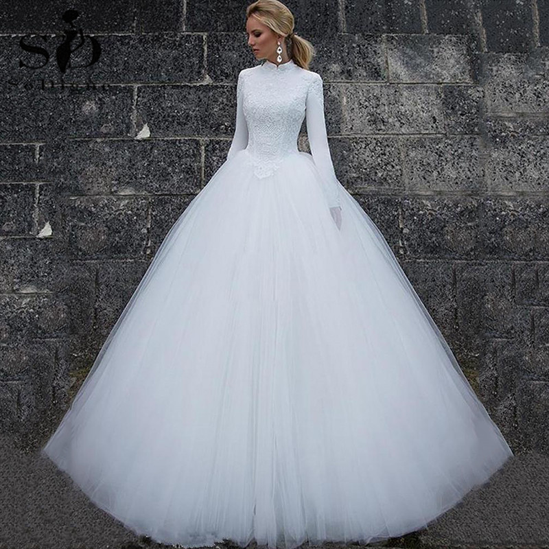 SoDigne Elegant Long Sleeves Muslim Wedding Dress White Ball Gown Dubai Arabic Bridal Wedding Gown Vestido De Noiva 2020