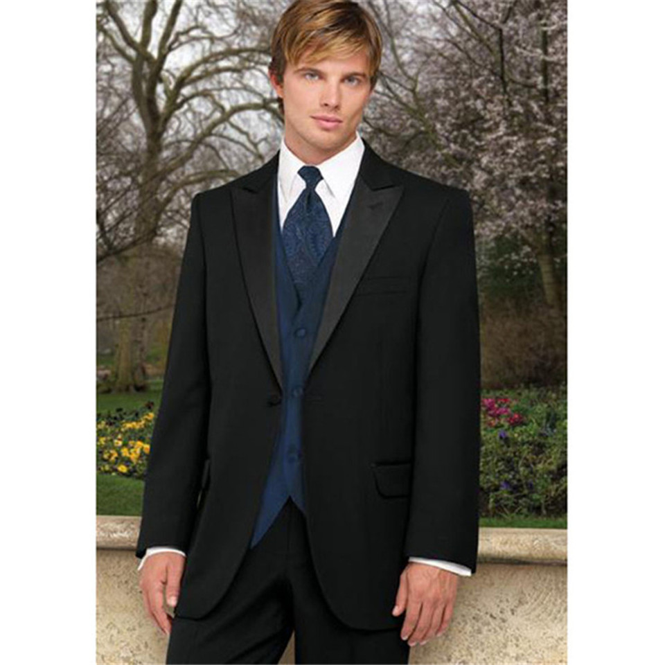 New Classic Men's Suit Smolking Noivo Terno Slim Fit Easculino Evening Suits For Men Black Best Man Groomsmen Prom Form Bridegro