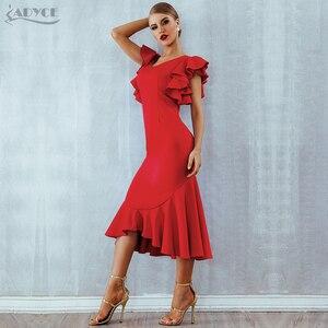 Image 3 - Adyce夏赤フリルセレブイブニングドレスパーティードレス女性vestidos 2020 蝶ノースリーブバックレスマーメイドクラブドレス