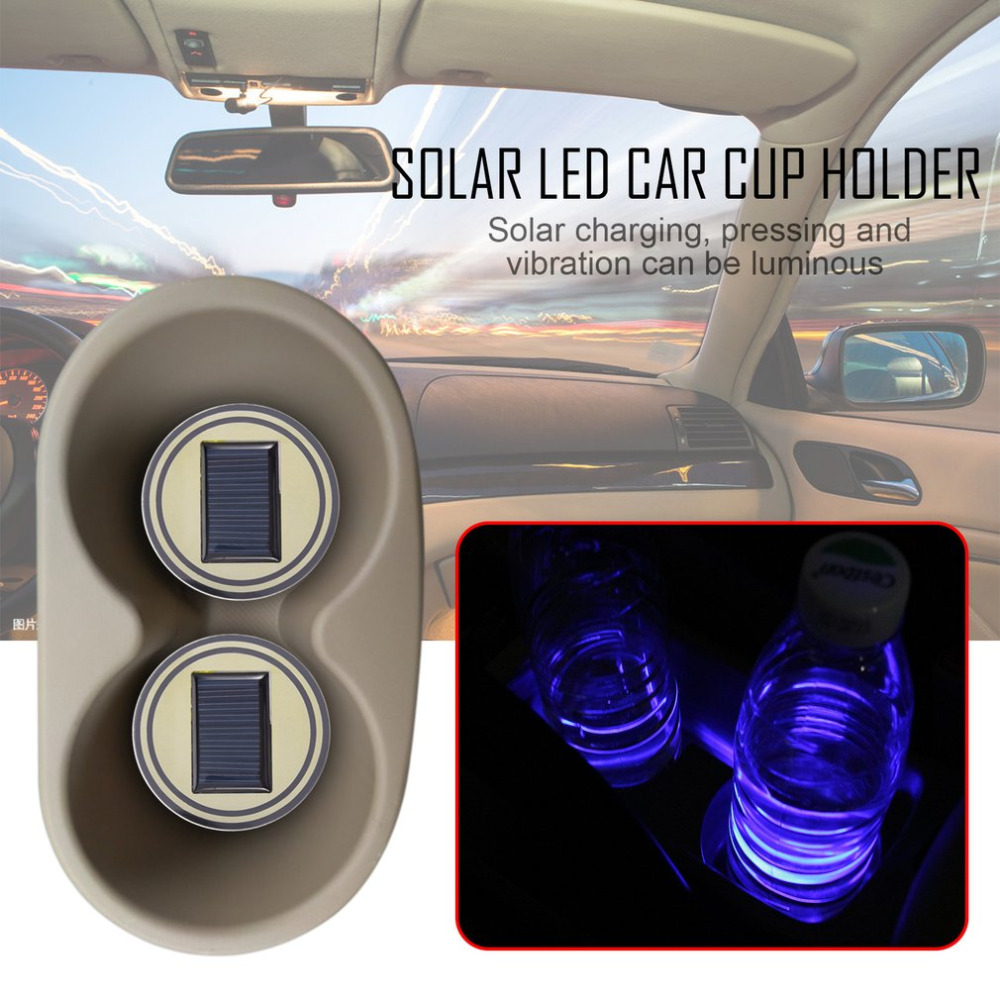 USA Pair Car Coasters Solar Cup Holder Bottom Pad Blue LED Light Atmosphere Lamp