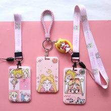 Card-Holder Clear-Card-Case Credit-Bank Sailor-Moon Lanyard Identity Visit Door Male