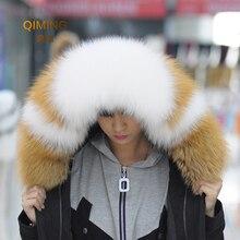 Женский натуральный меховой воротник для пальто роскошный Теплый натуральный Лисий зимний шарф женские Большие меховые шарфы мужские куртки 75 см 80 см 85 см