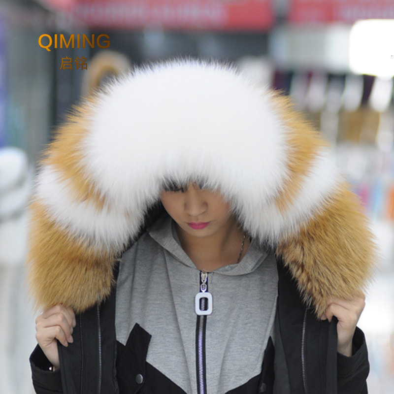 Woman 100% Real Fur Collar For Coats Luxury Warm Natural Fox Winter Scarf Women Large Fur Scarves Male Jackets 75cm 80cm 85cm
