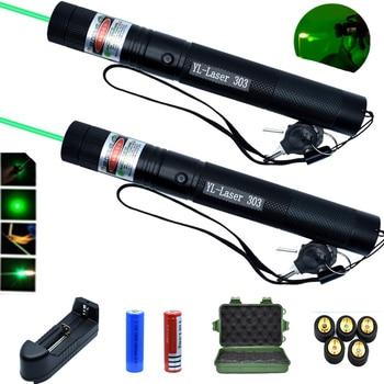 Zielony wskaźnik laserowy wysokiej Laser o dużej mocy widok 1000m 532nm 5mw urządzenie regulacja ostrości Lazer 303 laser zestaw latarek|Lasery|   -