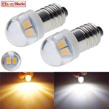 זוג E10 1447 LED פנס הנורה מנורת 3 V 6 V Led הנורה החלפת פנס לפיד הנורה 3 וולט 6 וולט בורג הנורה קסנון לבן