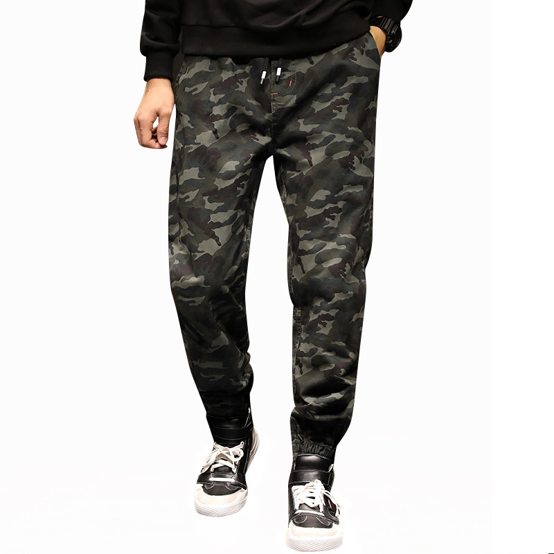 Men Leisure Camouflage Pants 100% Cotton Solid Color Camouflage Men's Pants Velcro Beam Feet Multi-pocket Trousers Spring