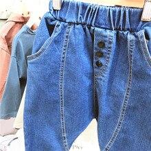 Г. Весенне-осенние новые стильные детские джинсы в Корейском стиле для мальчиков; модные повседневные шаровары