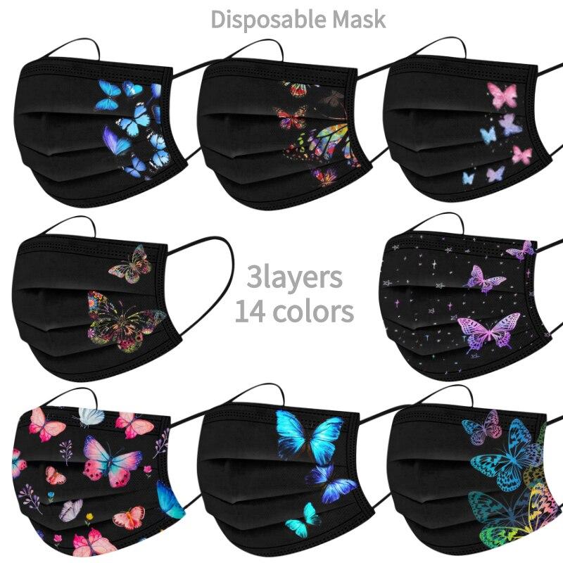 10/50 шт. одноразовые нетканые 3-слойный фильтр маска с принтом бабочки для женщин и мужчин лицевая маска для взрослых дышащие черные туфли мас...